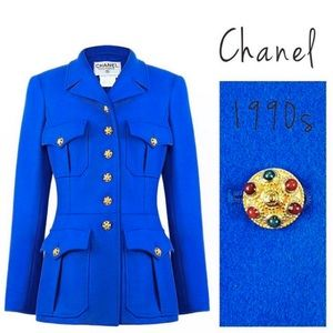 RARE Chanel Vintage 96A Gripoix Button Blue Jacket